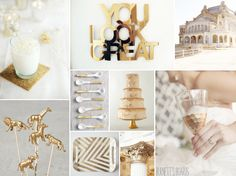 White and Gold Wedding Inspiration Boards