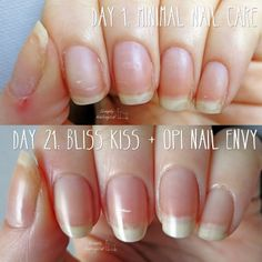 Naked nails BEFORE AND AFTER using Bliss Kiss cuticle oil and OPI's Nail Envy nail strengthening base coat - by simplynailogical