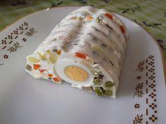 Reformnasik: Majonézes saláta formában Fresh Rolls, Eggs, Breakfast, Ethnic Recipes, Food, Morning Coffee, Egg, Meals, Yemek