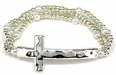 Heirloom Finds Silver Tone Hammered Sideways Cross Bracelet with Triple Strand Beaded Band  http://electmejewellery.com/jewelry/religious-jewelry/religious-bracelets/heirloom-finds-silver-tone-hammered-sideways-cross-bracelet-with-triple-strand-beaded-band-com/
