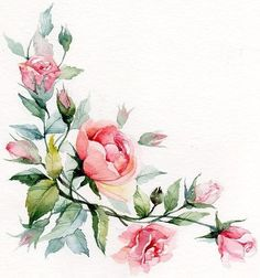 Taken by burmaka on Tuesday April 2015 Watercolor Cards, Watercolor Illustration, Watercolor Flowers, Watercolor Paintings, Flower Frame, Flower Art, Creation Deco, Floral Border, Fabric Painting