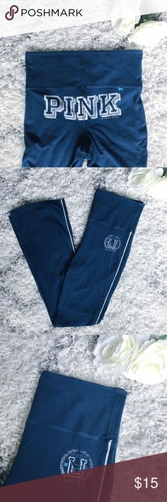 Victoria's Secret PINK Navy Legging Track Pants Comfy pair of stretchy pants from Victoria's Secret PINK. Navy with white writing/accents. Boyfriend fit so slight flare on bottom. 92% cotton. 8% spandex. Size Small. PINK Victoria's Secret Pants Track Pants & Joggers