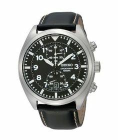 98040e0c99d Amazon.com  Seiko SNN231P2 Chronograph Men s Black Dial Black Leather Strap  Quartz Watch  Seiko  Watches
