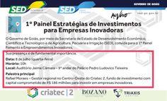 Logo mais tem palestra de estratégias para empresas inovadoras, realizada pelo coordenador de um fundo com R$ 186 milhões para investir no estado de Goiás. https://goo.gl/cEQWdd618706368829255680