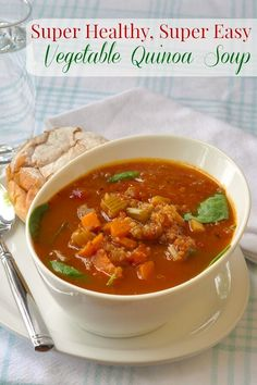 Vegetable Quinoa Soup - a deeply flavoured broth makes this healthy, nutritious soup even more delicious. Add any other veggies you like to this base recipe.