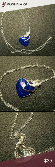 18kWGP 925 SS blue enamel heart necklace w CZ NWOT ~~NWOT .925 SS/18k WGP heart shape white topaz blue enamel necklace, CZ (cubic zirconia) Stamp CZ as well as 925 ~~beautiful, not many of these ~~includes silver chain  ~~new without tags Jewelry Necklaces