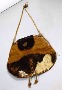 Ethnic Bohemian Rustic Leather/Hair Fur Satchel Cross Body Shoulder/Hand Made Bag Purse Pouch Small