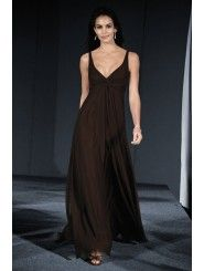 Chiffon V-neck Gathered Bodice Floor-Length Bridesmaid Dress
