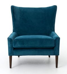 Marlow Upholstered Blue Wing Chair #UpholsteredChair