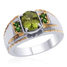 Liquidation Channel | Hebei Peridot and Russian Diopside Men's Ring in Platinum and 14K Yellow Gold Overlay Sterling Silver (Nickel Free)