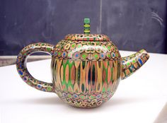 """Green Pencil"" teapot by Jen Maestre. (Will be at Teapots 6!, an exhibition at Morgan Contemporary Glass Gallery in Pittsburgh, opening April 13, 2012.)"