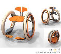 Mobi Electric opvouwbare rolstoel De Mobi electric opvouwbare rolstoel werd ontworpen door Jack Martinich. De rolstoel is stijlvol en handig en bied een alternatief voor de volumineuze elektrische scooters. Deze elektrische rolstoel is voorzien van zelfbalancerende Segway-geïnspireerde technologie. Het ontwerp van de rolstoel werd voorzien van een innovatieve klapmechanisme die het mogelijk maakt om te worden opgevouwen en opgeslagen en vervoerd in een voertuig zonder enige noodzaak voor