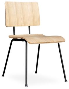 dining chairs -  A modern reinterpretation of the classic elementary school chair. Features a bent-plywood seat and back which are fastened to the frame with rubber shock mounts