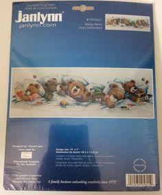 Janlynn Counted Cross Stitch Sleepy Bears New In Package #Janlynn