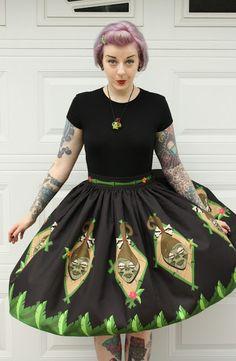 Coffin Kitsch: Shrunken Head Circle Skirt