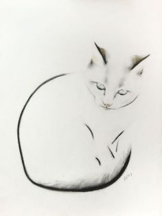 ARTFINDER: Suspicious Cat by Kellas Campbell - My cat, Charlie, looking suspicious. Drawn with graphite, charcoal and pastel pencils on 200gsm paper. Size: 29.7 by 29.7 cm / 11.69 by 11.69 inches.