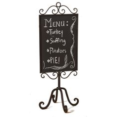 Replica of a vintage free standing, ornate metal chalkboard Vintage style metal frame has antique look and feel Faux slate 687293310155 Turkey Stuffing, Framed Chalkboard, Messages, Antiques, Metal, Vintage, Free, Films, Boards