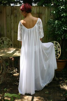 White Bridal Romance Full Swing Nightgown Lace by SarafinaDreams, $125.00