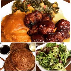 Collard Greens, Riblets and Soufflé Sweet Potatoes... Salad... Sweet Potato Pancakes with Soy Butter and Real Maple Syrup   @ Seasoned Vegan, NYC via Yelp...not my pic but I can attest to its deliciousness!