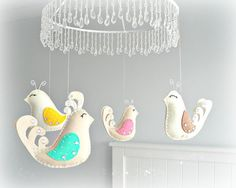 Baby crib mobile  Bird mobile  baby mobile  You by LullabyMobiles