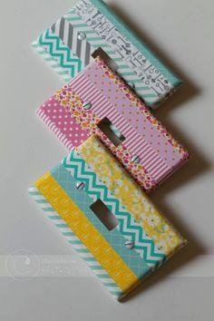 Unas cajetillas de interruptores personalizadas con washi tape ¡Qué buena #idea! #washitape #decoración