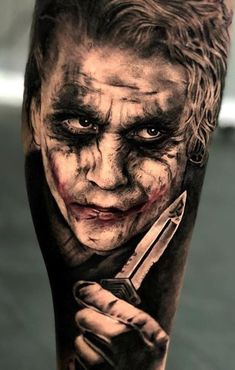 Joker tattoo is probably one of the most popular tattoos among the comic fans. People are fascinated by the Joker. Joker Tattoos, Clown Tattoo, Batman Tattoo, Sexy Tattoos, Black Tattoos, Body Art Tattoos, I Tattoo, Sleeve Tattoos, Tattoos For Guys