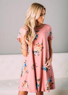 Floral Short Sleeve Dress, Boutique, Online Boutique, Women's Boutique, Modern Vintage Boutique, Dress, Pink Dress, Floral Dress, Cap Sleeve Dress, Mini Dress, Cute, Fashion