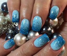 Pretty Blue Ombré Nails Spring Summer 2014 Glitter Ombré Nail Art Gel Nail Design #ByMargarita