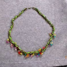 Check out Brass Chain Necklace with Lucite Flowers on suncreations