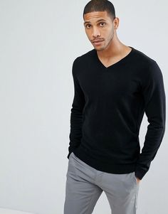 Selected Homme Identity V Neck Knit in Cotton Silk - Black