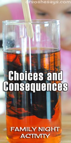 Family Night Idea - Choices & Consequences Color Experiment Activity - For this Family Night idea, Adelle created a color experiment activity to teach everyone about choi -