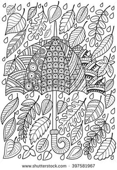 Hand draw doodle coloring page for adult. I love Autumn. An Umbrella and Leaves. Fashion Umbrella Style. Raster copy