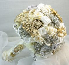 Silver & gold bridal brooch bouquet