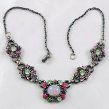"Designer signed ""CORO"" Fall season pastel rhinestone choker necklace, Shop Rubylane.com"
