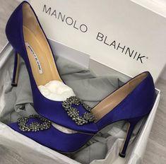 Manolo Blahnik Hangisi Jeweled Pump  #highheels #womenstyle #fashion #trending #cybermonday2018 #blackfriday2018 Manolo Blahnik Hangisi, Blue Pumps, Blue Satin, Stiletto Heels, Jewels, Stuff To Buy, Shoes, Fashion, Moda