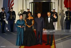 State Dinner September 25, 2015 - with Chinese President Xi Jinping and his wife Peng Liyuan. *black gown in silk crepe organza sleeves from Vera Wang Collection. Wang is an American of Chinese heritage.