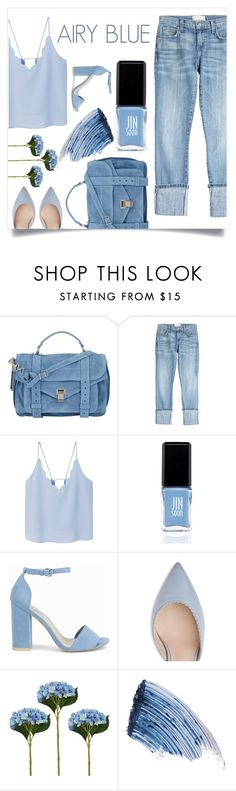 """Pantone: airy blue"" by mariam-magana ❤ liked on Polyvore featuring Proenza Schouler, Current/Elliott, MANGO, JINsoon, Nly Shoes and Sisley - Paris"