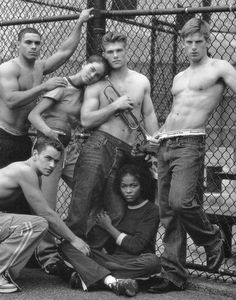 Maurice Bradford, Nick Wintle and Chris Carmack by Bruce Weber for Abercrombie & Fitch (Fall 2000) #ChrisCarmack #BruceWeber #MauriceBradford #NickWintle #malemodel #model #actor #af #anf #abercrombie #abercrombieandfitch #bw #nyc #trumpet #fence