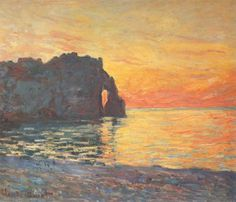 Etretat, Cliff of d`Aval, Sunset by Claude Monet (via @lonequixote)