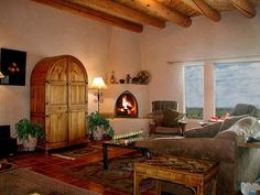 covered fire place and window