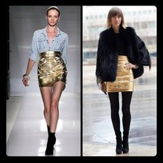 Loving the gold metallic skirt with the denim shirt - different textures are always interesting