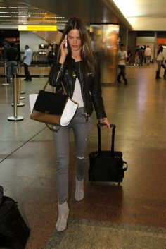 Alessandra Ambrosio wearing Celine Trapeze Bag Rag & Bone Classic Newbury Boots Sao Paulo-Guarulhos International Airport July 16 2013