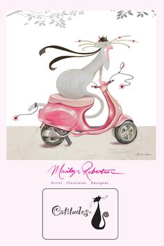 Catitudes ™  #illustration by #MarilynRobertson #cats with attitude part of the trademark range #catitudes. this is Mia celebrating International #Cat Day....zomming around on her #pink #vespa ...vespurrrrrr....