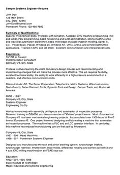 sample of system engineer resume httpexampleresumecvorgsample