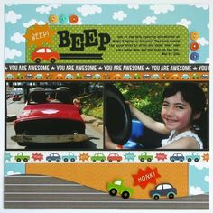 A Pebbles Inc. Love You More Car Themed Layout - Two Peas in a Bucket