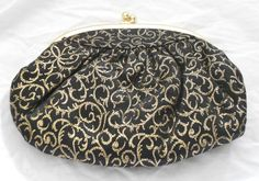 1960s Vintage Gold and Black Evening Clutch by daVincigirlshoppe