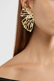 #JenniferFisher Butterfly gold-plated earrings #accessories #earrings #butterflies #jewelry #gold #netaporter #shopping #fashion