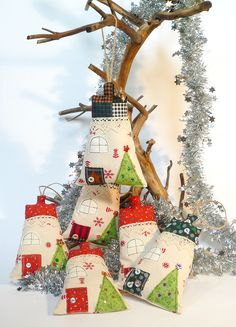 Christmas Fabric House hanging decorations