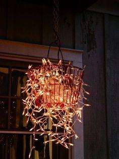 simple-est outdoor lights.  Metal basket, gardening, outdoor decorating, outdoor lighting, party