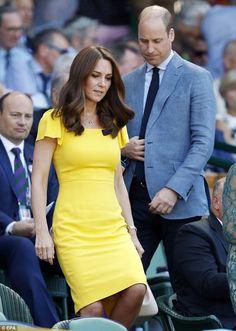 The Duchess of Cambridge, 36, wore a striking yellow dress by Dolce & Gabbana to Wimbledon...